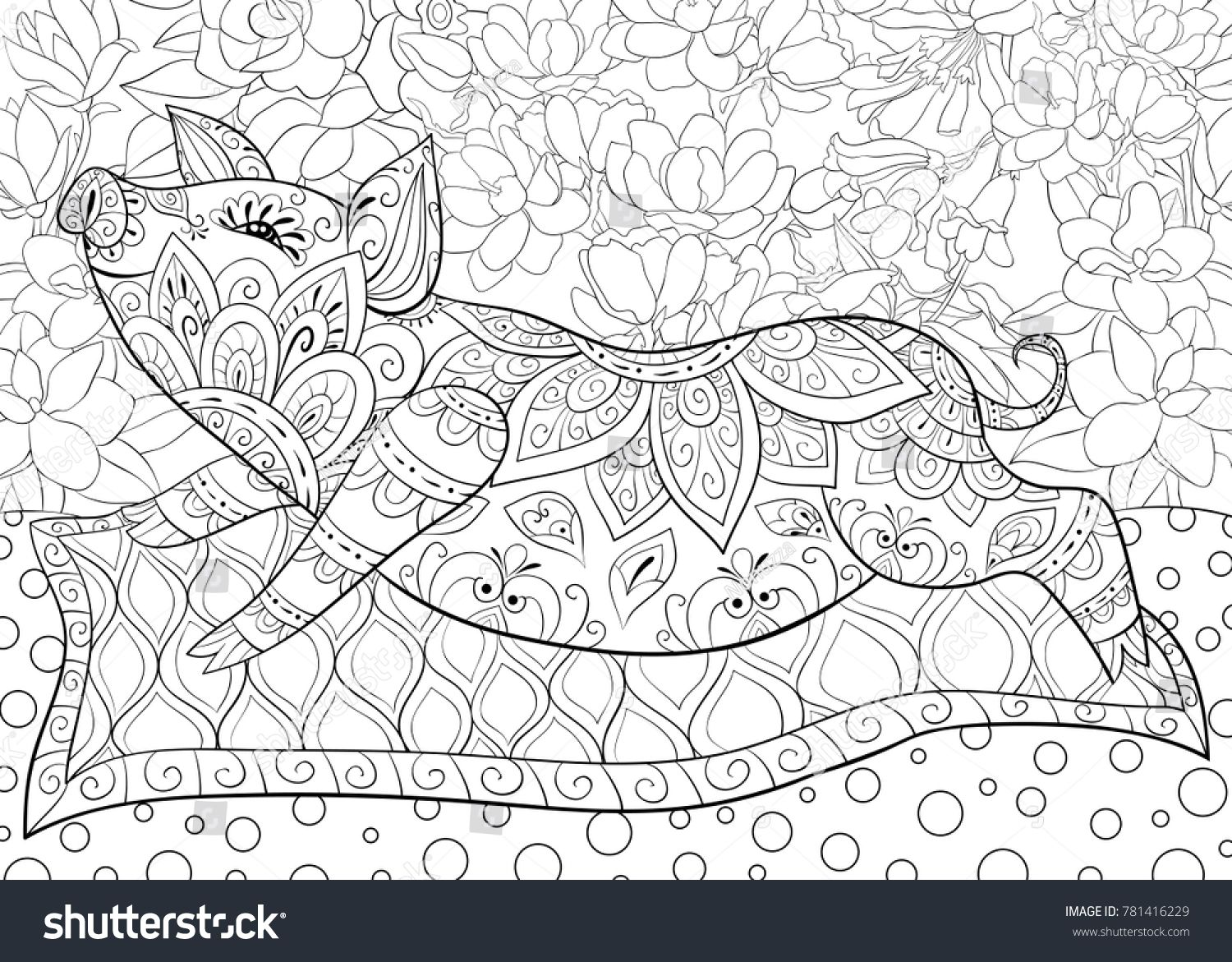 adult coloring bookpage a cute pig on the pillow for
