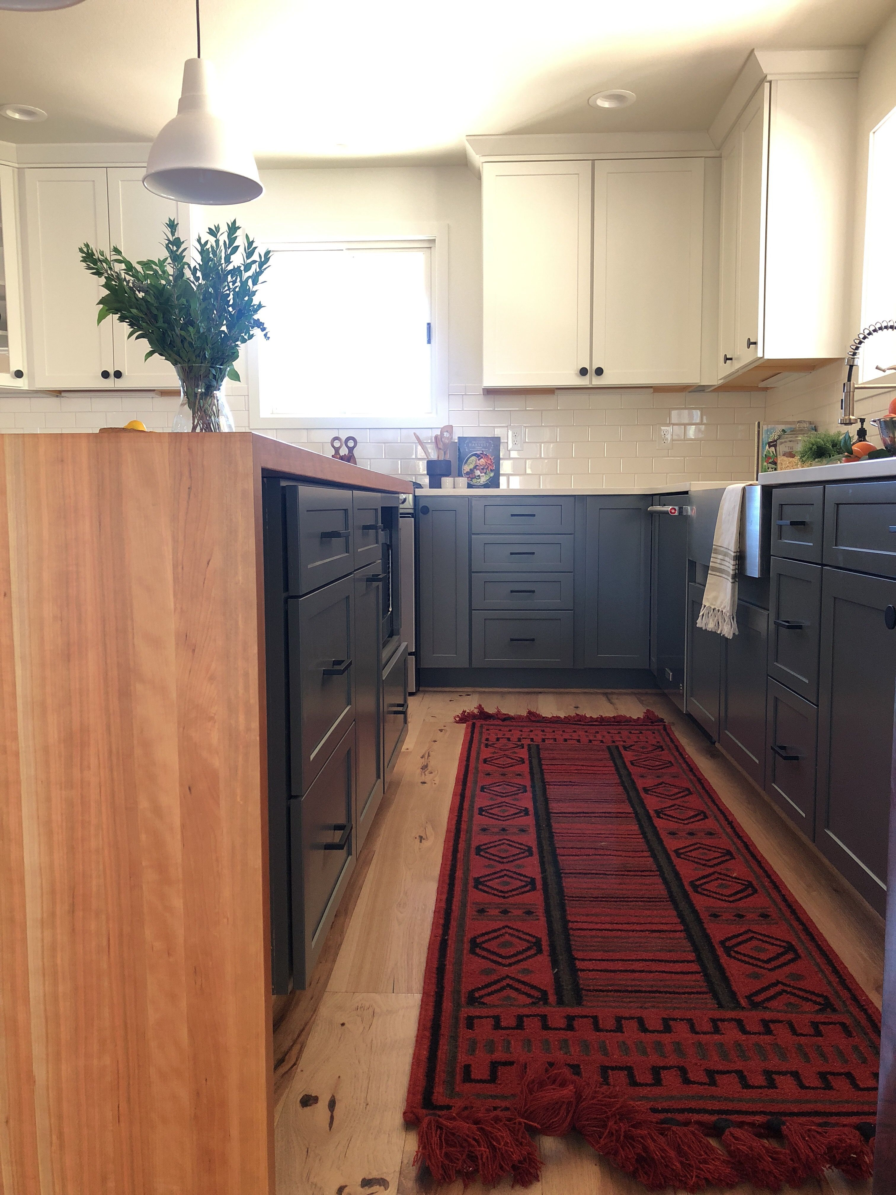 Two Tone Kitchen With Butcher Block Waterfall Island Small Kitchen Decor Kitchen Cabinet Remodel Kitchen Remodel