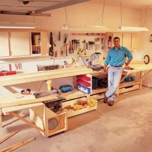 Workbench For A Small E Fold Out Work Table Roll Saw Stand Miter Box And Lots Of Storage Cabinets Drawers Pegboard