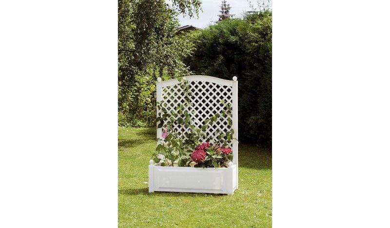 Die Blumenkübel Kunststoff Visby mit Rankgitter-Aufsatz sind in der Farbe Weiß erhältlich. Der Pflanzkübel lässt sich wunderbar mit Kletterpflanzen gestalten und ist wetterfest. Das Pflanzgefäß misst inklusive Rankgitter 100 x 140 x 43 cm. Diese und weitere Pflanz- und Blumenkübel aus Kunststoff finden Sie unter http://www.meingartenversand.de/pflanzkuebel/pflanzkuebel-kunststoff.html