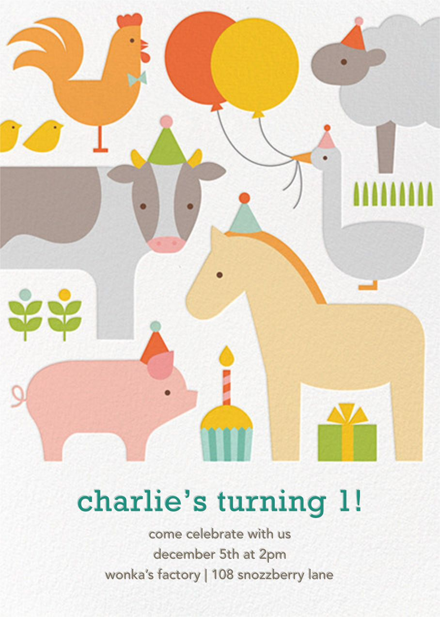 Paperless Post - Barnyard Bash by Petit Collage   Graphic styles ...