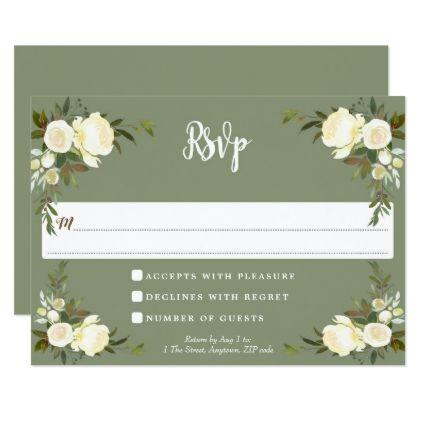 Boho floral green wedding rsvp response card wedding invitations boho floral green wedding rsvp response card wedding invitations cards custom invitation card design marriage stopboris Images