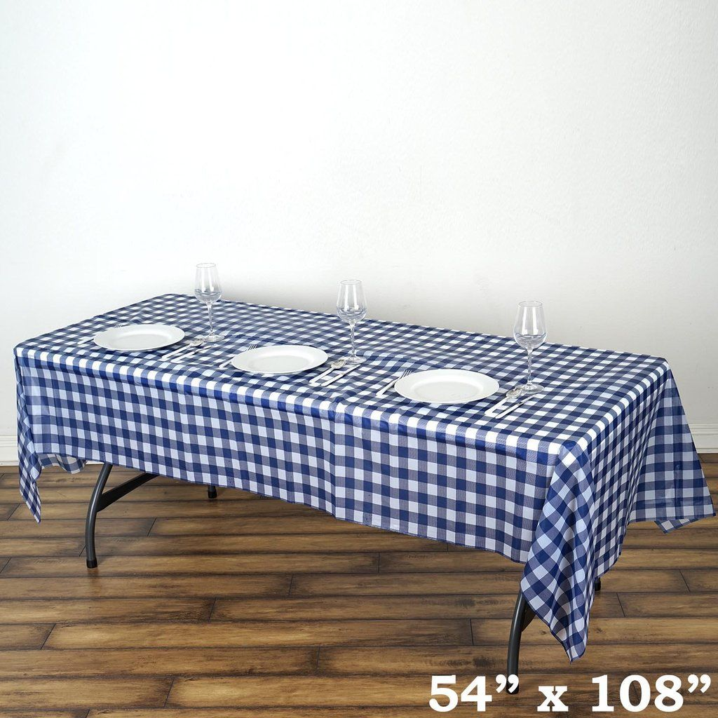 Buffalo Plaid Tablecloth 54 X 108 Rectangular Spill Proof Tablecloths White Navy Disposable Checkered Plastic Vinyl Waterproof Tablecloths Plaid Tablecloth Waterproof Tablecloth Table Cloth