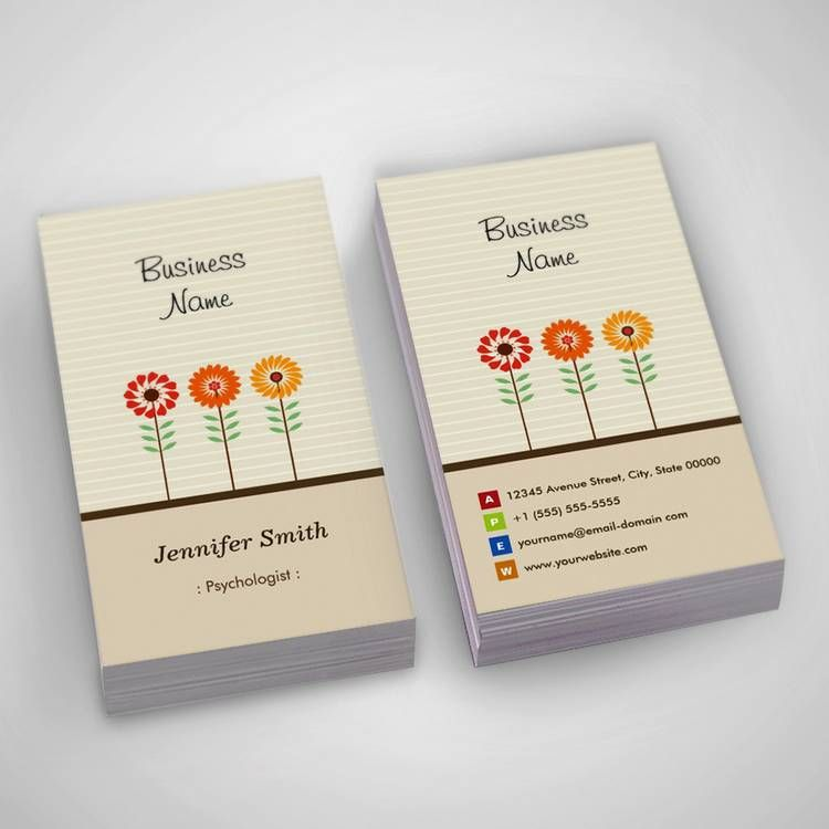 Psychologist - Cute Floral Theme Business Card | Card templates ...