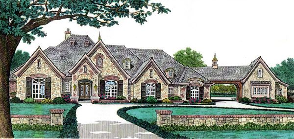French Country Style House Plan with 4 Bed 5 Bath 4 Car Garage