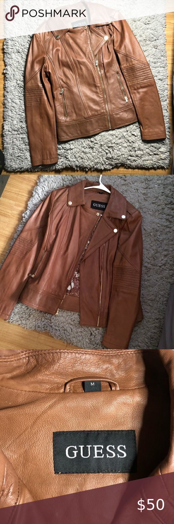 Guess Jacket Tan Brown Leather Size M Jackets Leather Clothes Design [ 1740 x 580 Pixel ]