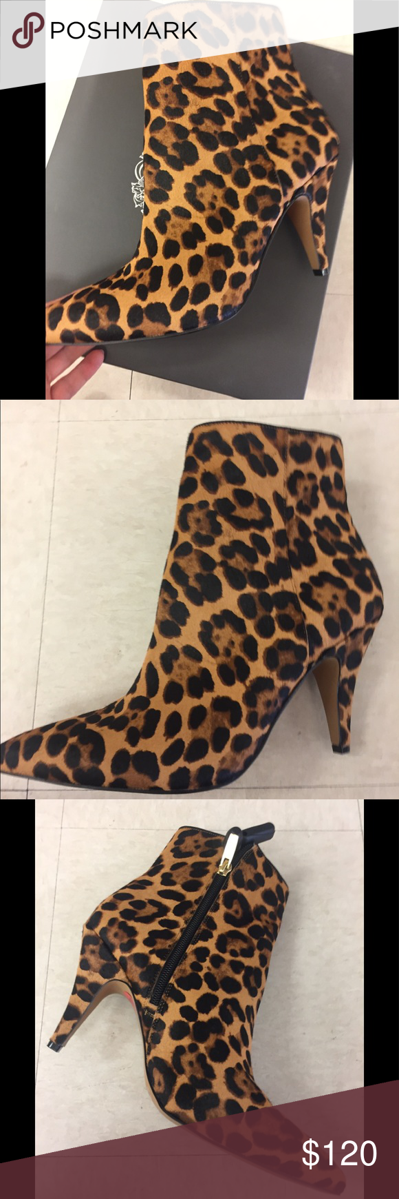 vince camuto leopard ankle boots