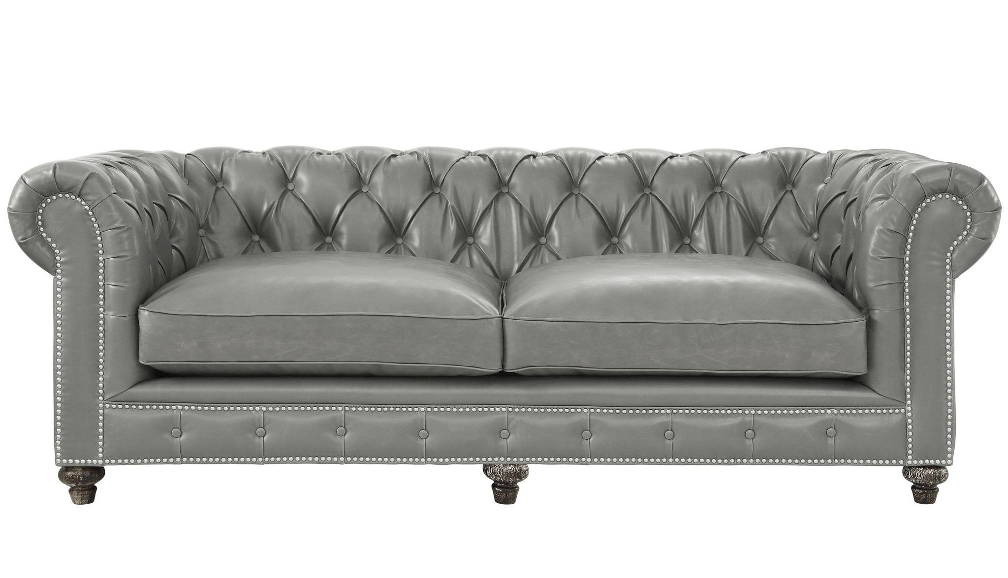 TOV Furniture Modern Durango Rustic Grey Leather Sofa TOV ...