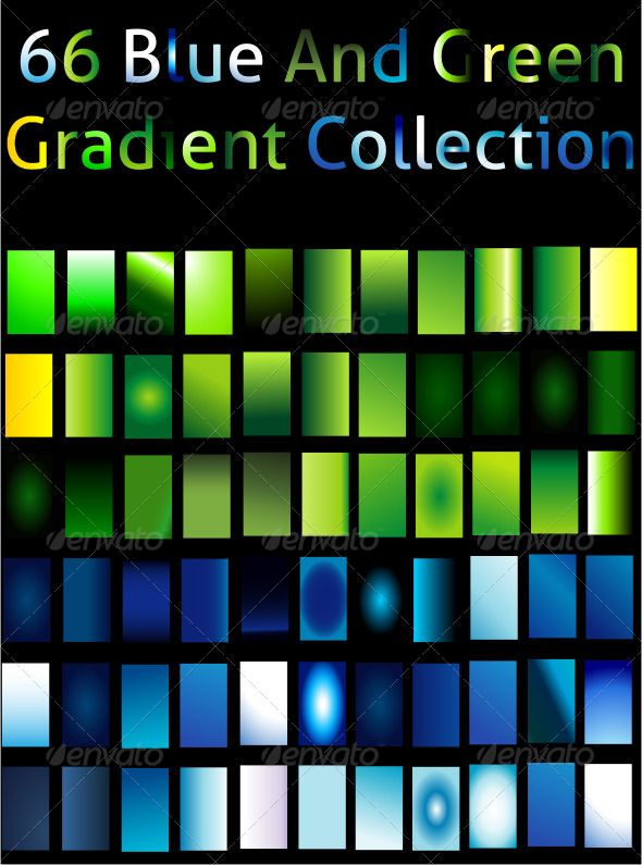 Blue And Green Gradient Collection For Illustrator Illustrator