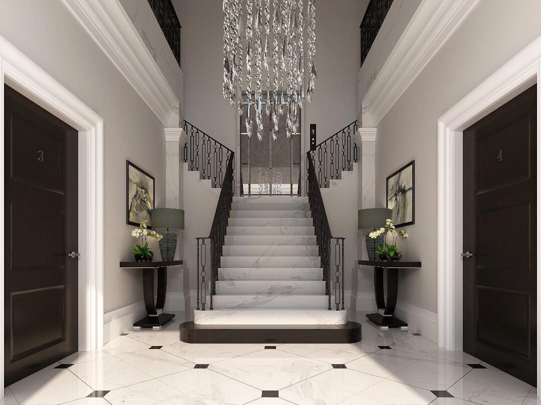 Elegant The Grand Entryway Of The New Luxury Development Were Designing Features  Classic Black And White Marble