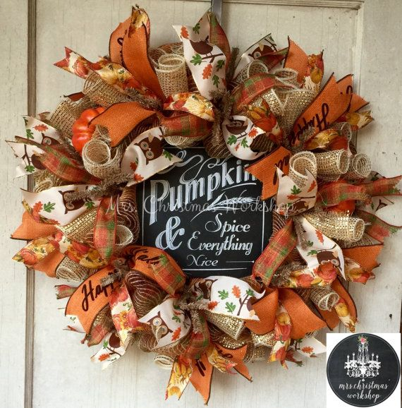 Burlap Wreath Fall Wreath Deco Mesh Wreath By