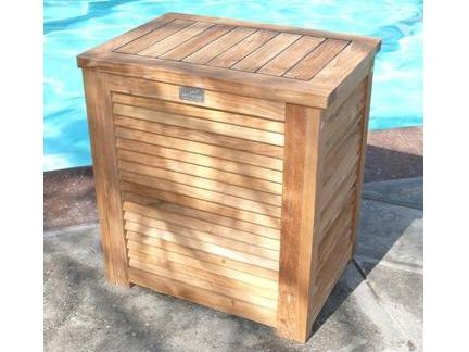 Pool Toy Storage Ideas malibu pool accessory storage bin Outdoor Teak Pool Hamper Beach Towel Storage Pool Storage Ideas