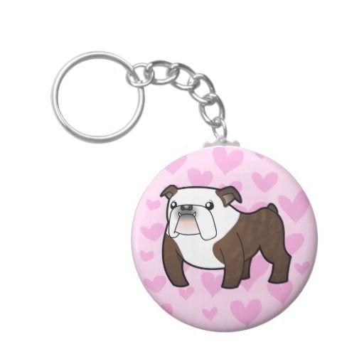 Bulldog Love (brindle and white) Key Chain