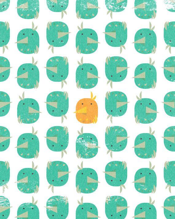 Orange Bird Art Print  8 x 10 by RustysStew on Etsy
