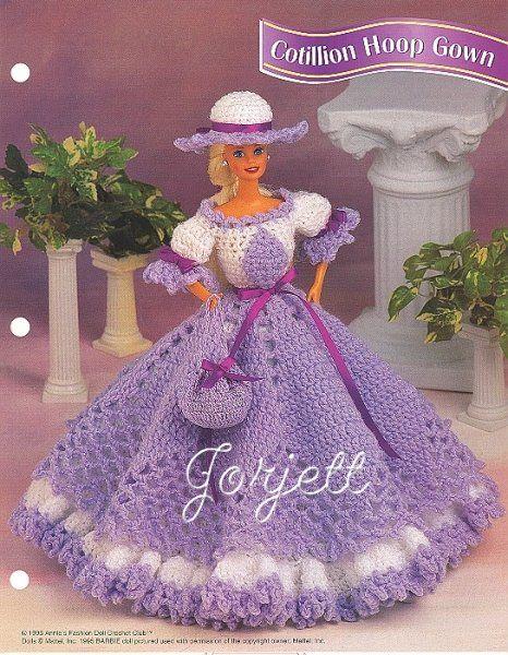 Cotillion Hoop Gown, crochet patterns fit Barbie   Crochet ball ...
