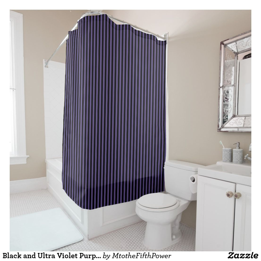 Black And Ultra Violet Purple Vertical Stripes Shower Curtain
