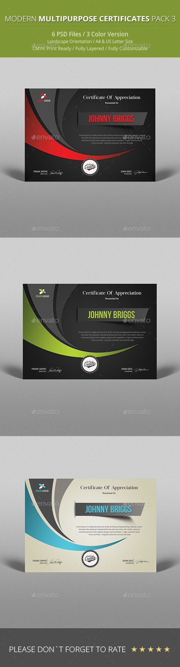 Certificate certificate template and psd templates modern multipurpose certificate template psd download here httpgraphicriver yadclub Images