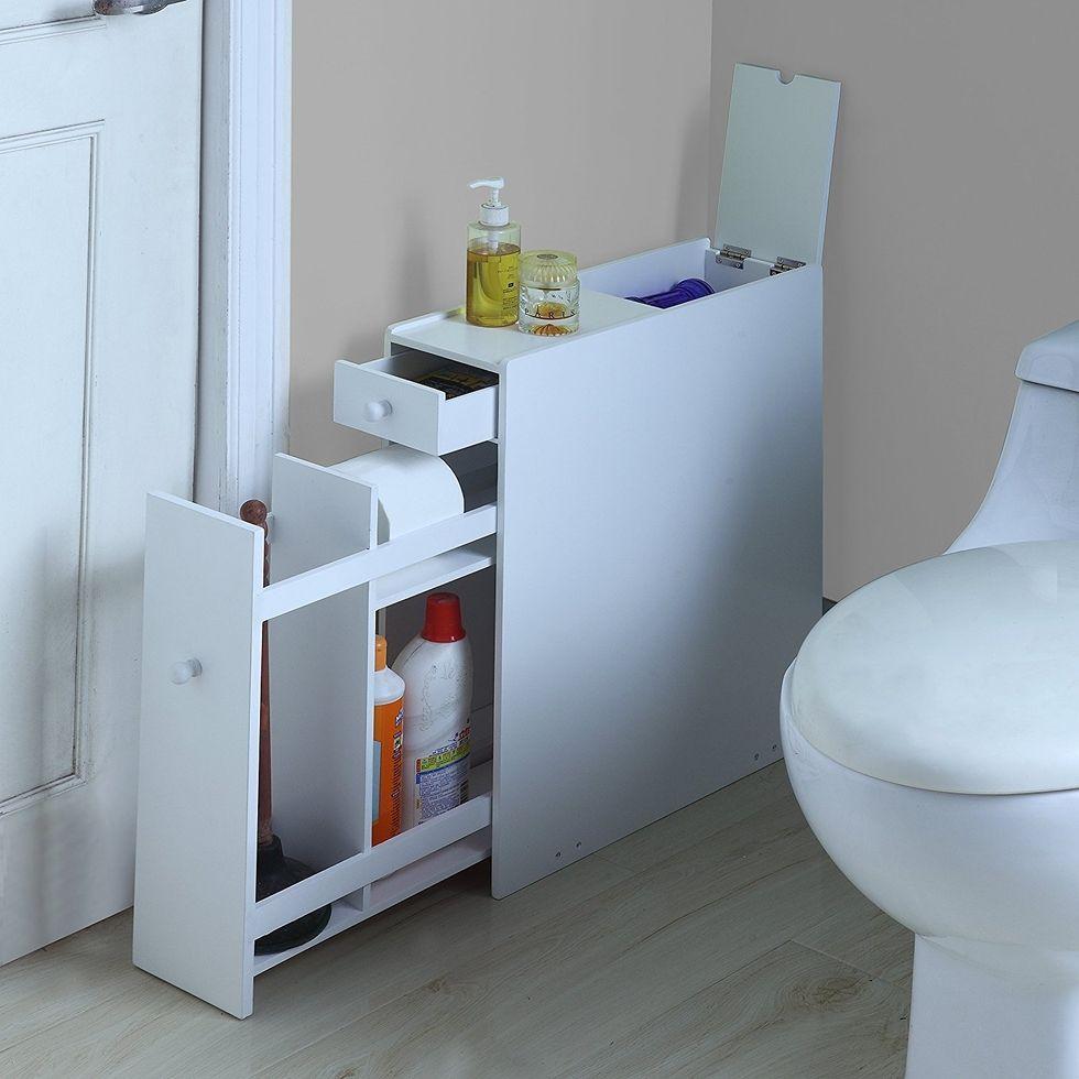Bathroom Organization Hacks That Will Double Your Space Bathroom Floor Cabinets Wood Floor Bathroom Bathroom Flooring