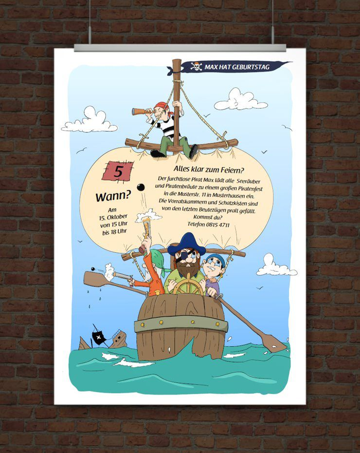 piratengeburtstag einladung | geburtstagsvorlagen | pinterest, Einladung