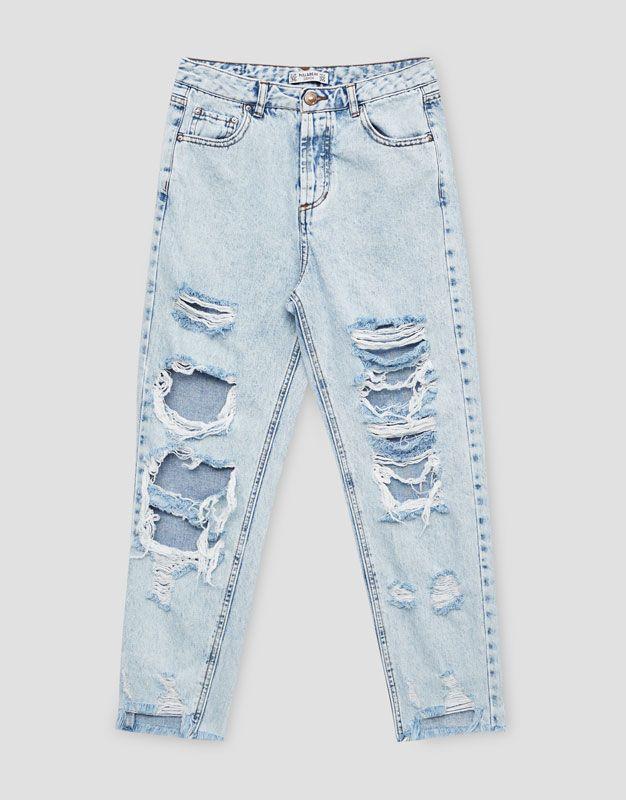 Jeans Mom Fit Rotos Mom Fit Jeans Denim Hidden Pull Bear Espana Jeans Roto Mujer Pantalones Rotos Mujer Pantalones De Moda