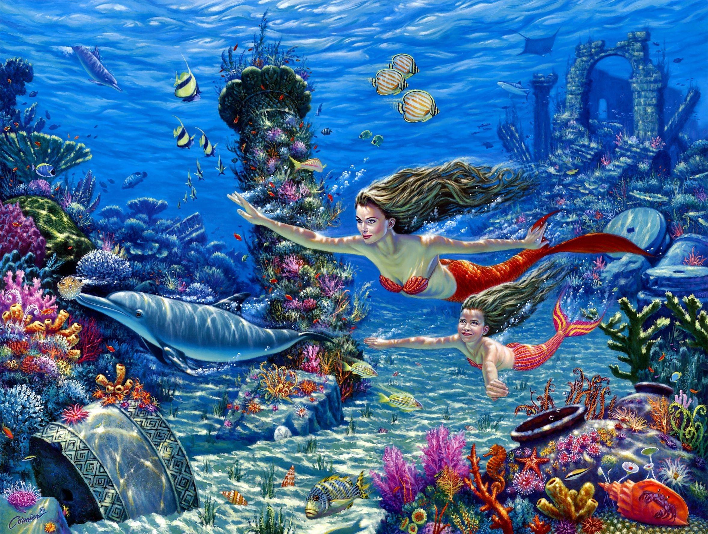 Картинки подводный с русалками