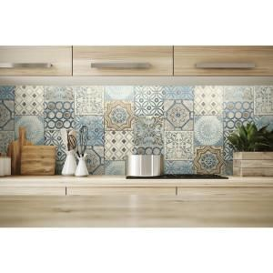 Nextwall Moroccan Tile Vinyl Peelable Wallpaper Covers 30 75 Sq Ft Nw30002 The Home Depot Diy Kitchen Projects Moroccan Tile Kitchen Wallpaper