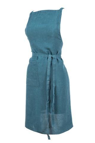 Harmony - Tablier de cuisine en lin lavé Nais - 100% lin lavé stone wash - Bleu de Prusse - 70*90 cm - Home Beddings and Curtains