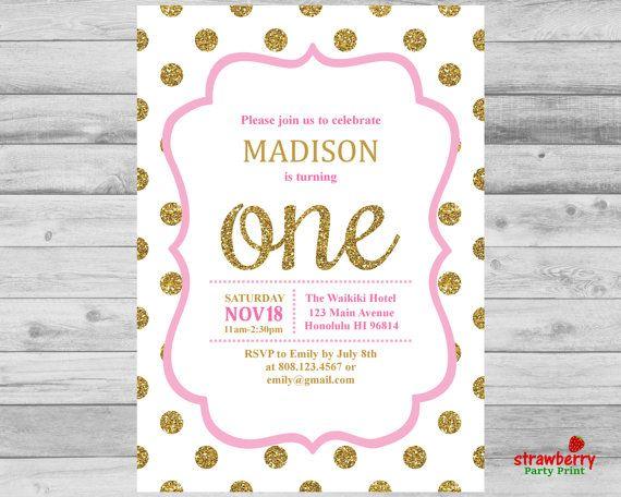 Pink and gold birthday invitation gold glitter polka dots girl pink and gold birthday invitation gold glitter polka dots filmwisefo