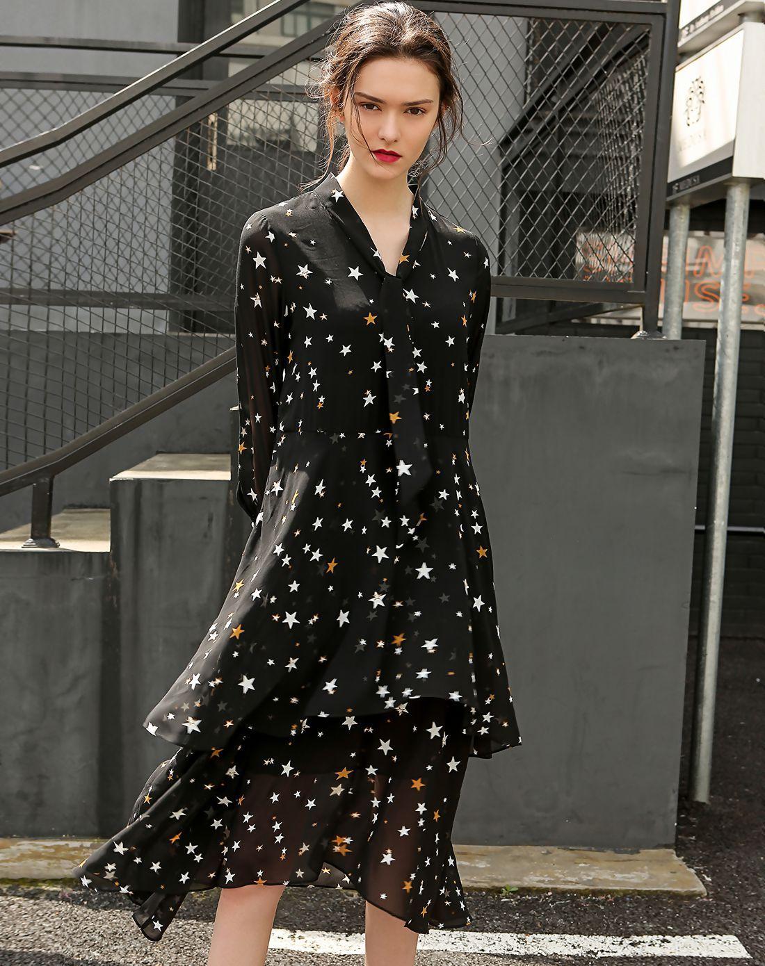 AdoreWe VIPme Swing DressesDesigner RINACN Black Floral V Neck