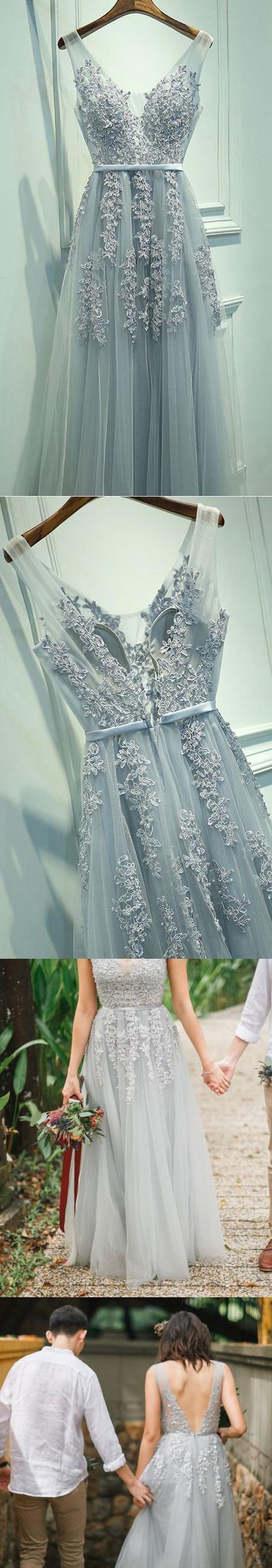 Aline grey tulle with lace appliqued vneck prom dresseslong