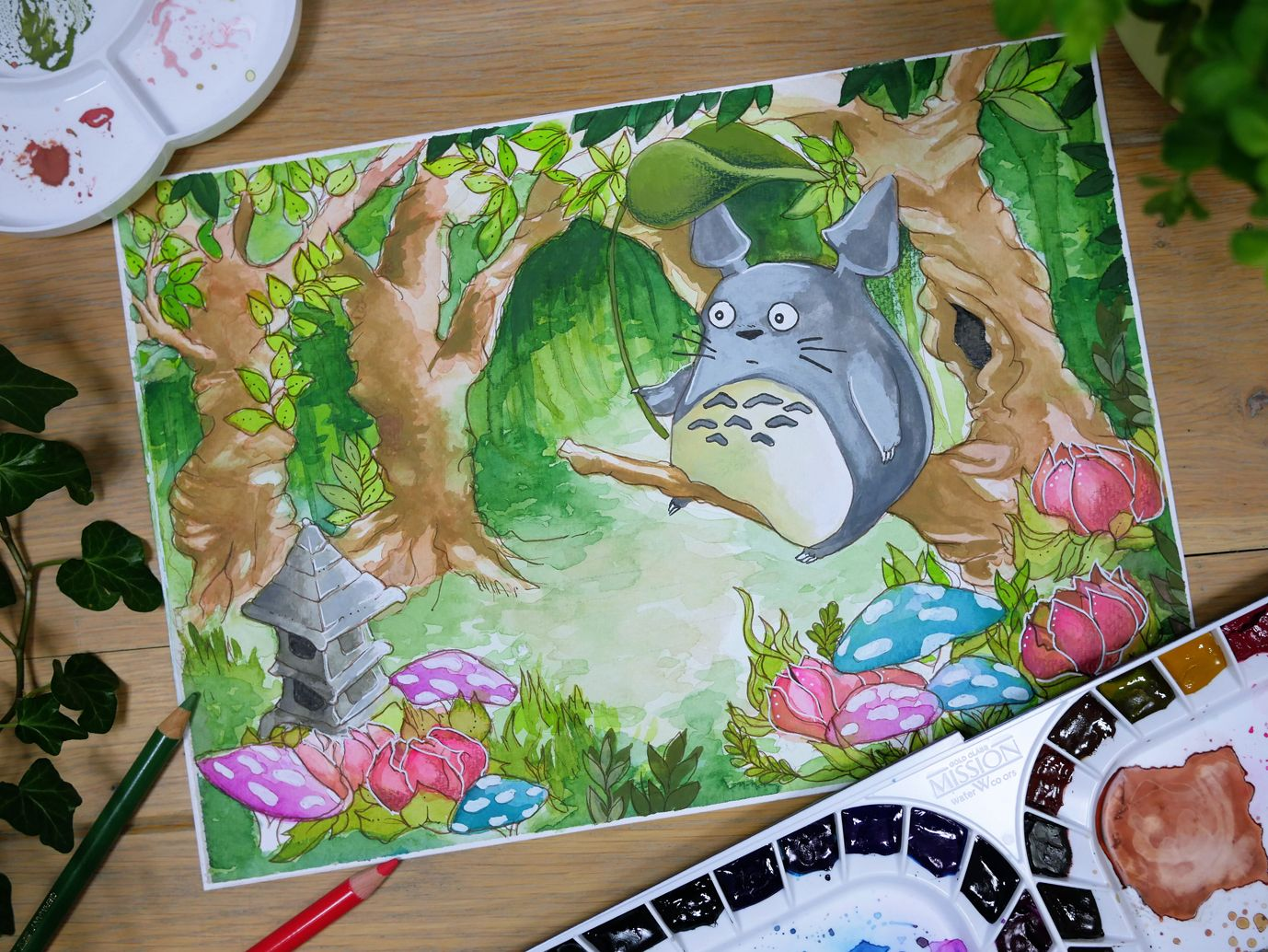 """""""My+Neighbor""""+  Painting+by+Kelsey+Yurkow,+2017+  Original+character+(c)+Studio+Ghibli  Size:+21+x+29.7+cm+(A4)    ►+Made+with+watercolor+&+gouache+paints+on+thick,+300g+cold+pressed+paper+-+lightly+textured.    ►+Color+and+value+may+vary+slightly+from+the+image+on+the+computer+screen.+The+painti..."""