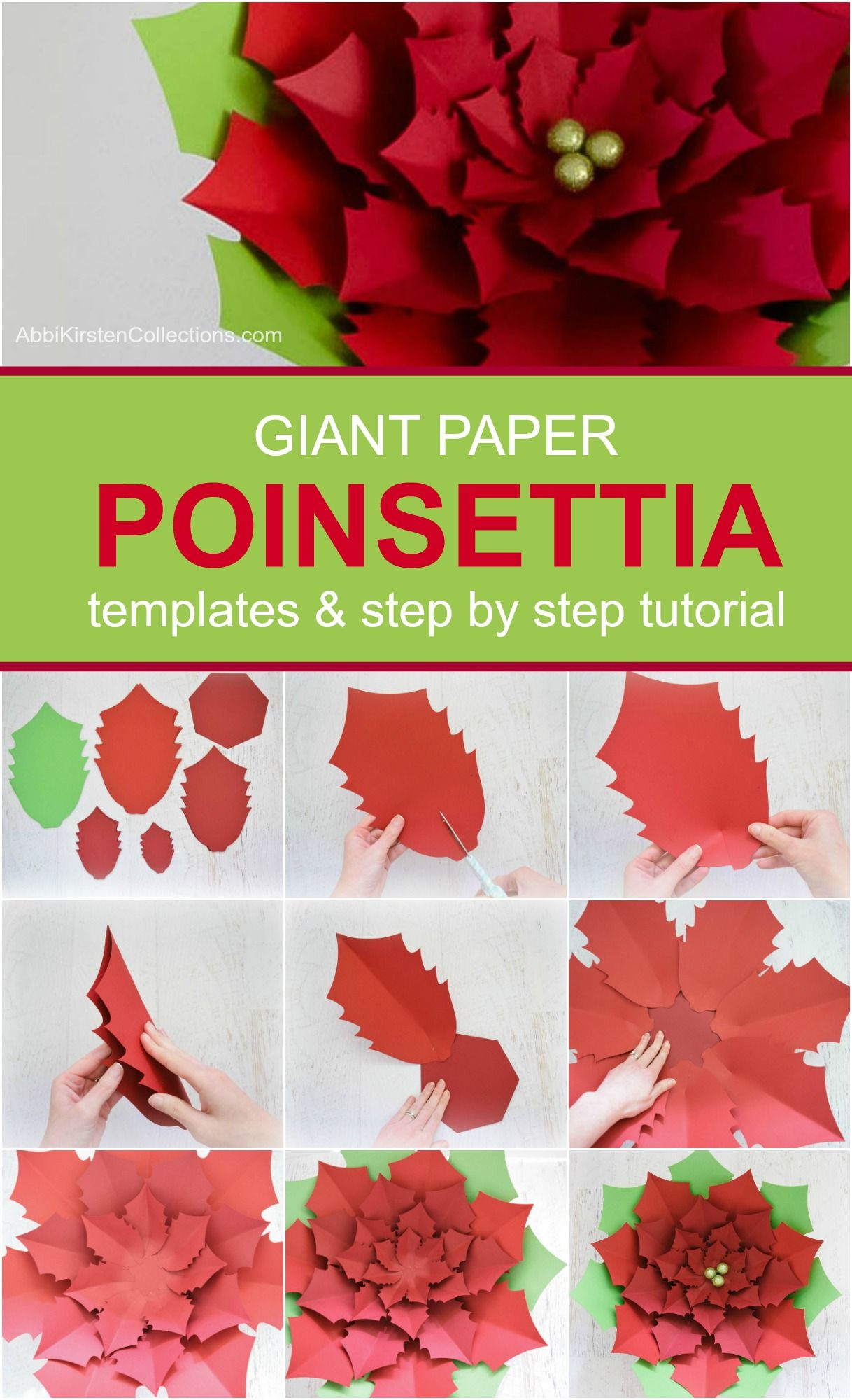 Diy Giant Paper Poinsettia Tutorial Christmas Paper Poinsettias Paper Christmas Decorations Christmas Paper Crafts Paper Crafts Diy