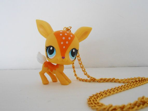 OOAK Upcycled Fawn Necklace Littlest Pet Shop LPS Kitsch