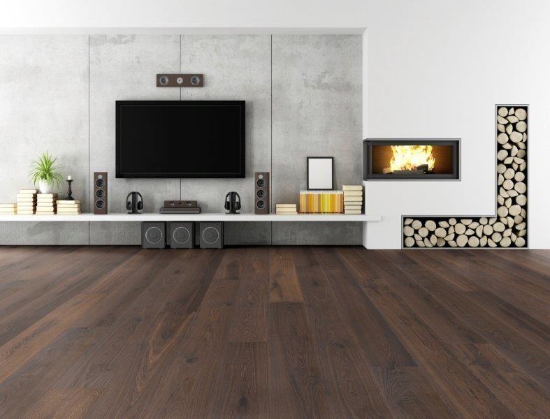 dunkler Parkett Landhausdiele Räuchereiche gebürstet rohoptik - dunkle fliesen wohnzimmer modern