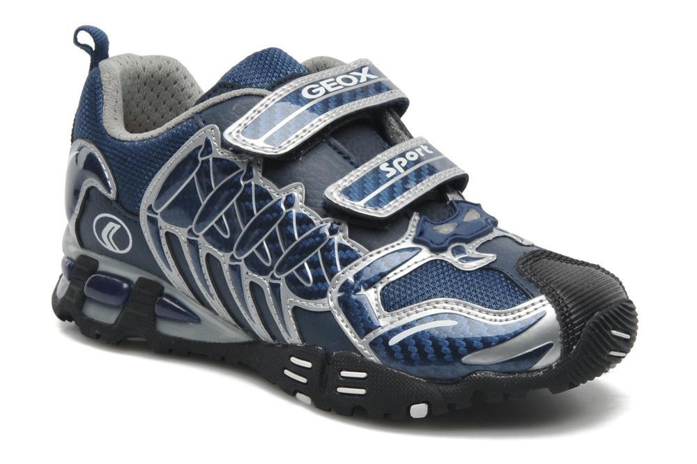 New Geox JR Light Eclipse Boys Navy Leather Trainers Sizes 26 27 30 32 33 34