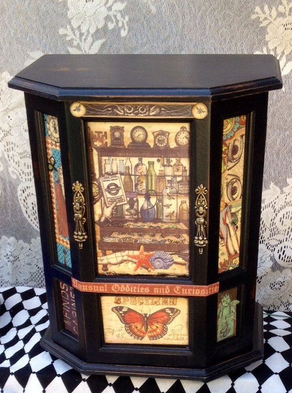 Freak Show Tall Vintage Wooden Jewelry Box Jewelry Cabinet Graphic