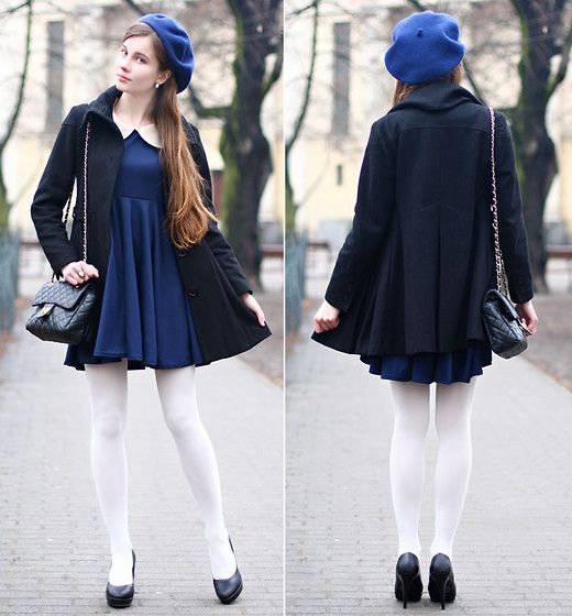 White Tights Vintage Ring Navy Blue Dress With Peter Pan Collar