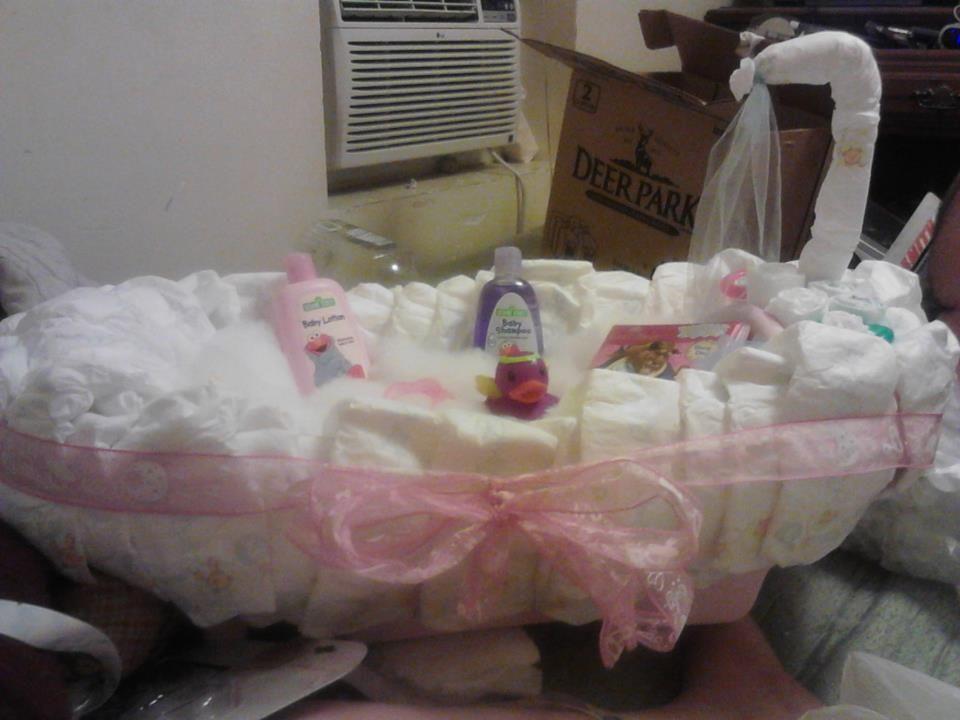 Better than a diaper cake! Diaper bath tub!! Made using a baby ...