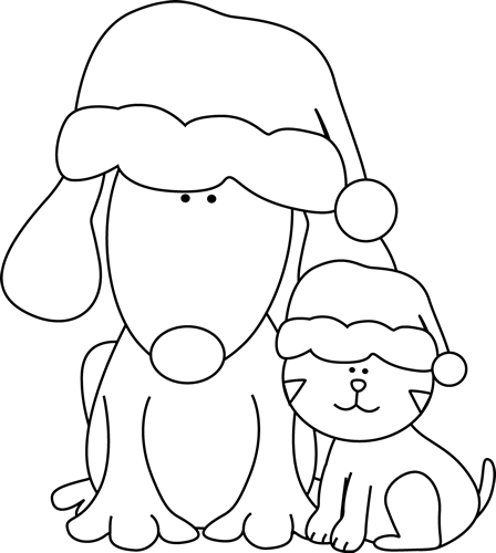 Black And White Christmas Dog Cat Clip Art