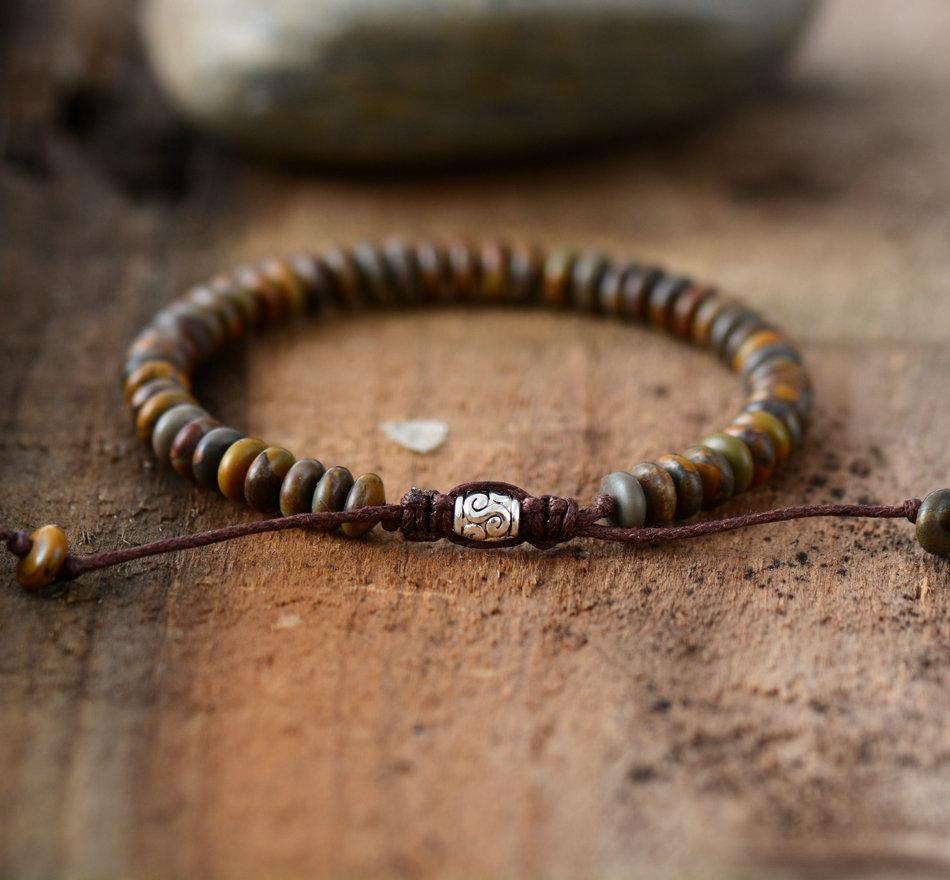 Menus beaded brown jasper discs bracelet wrap bracelets