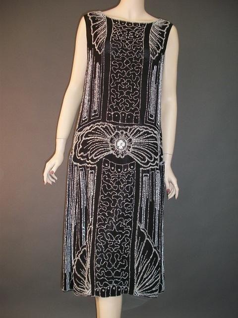 Super Art Deco Heavily Beaded Flapper Dress Deco Dress Fashion Art Deco Dress