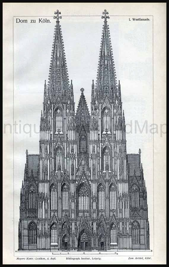 Architectural Drawing Cathedral of Cologne Germany Gothic