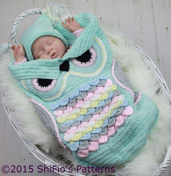245- Owl Cocoon Baby Crochet Pattern #245   Tejido, Bebe y Bebé