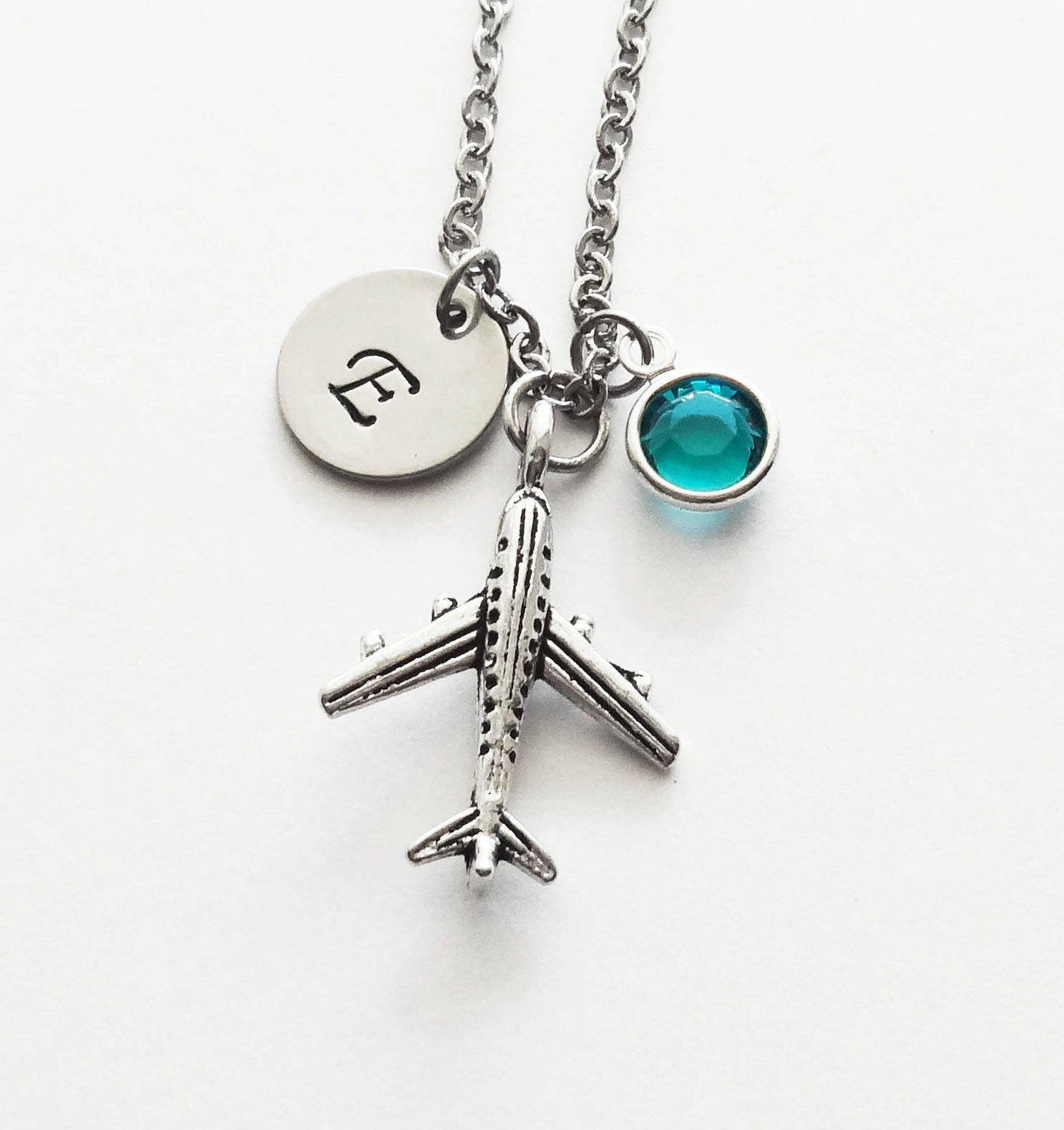 Airplane Keychain Flight Attendant Airplane Jewelry Initial Letter Birthstone Women Men Pilot Airplane Charm Airplane Pendant