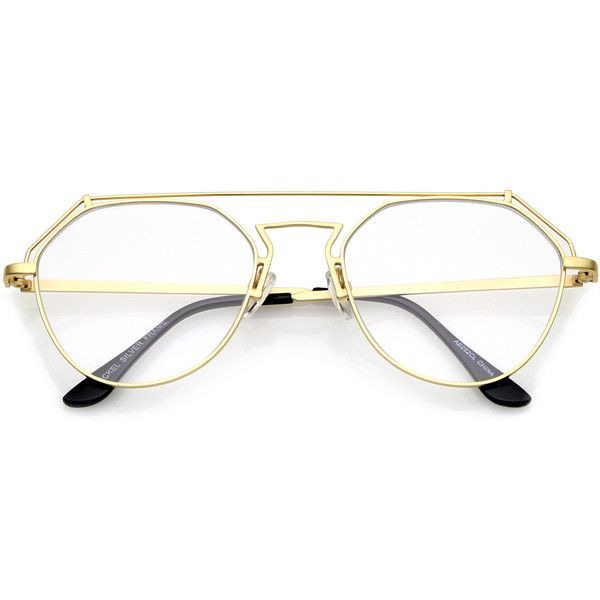 Modern matte gold metal flat clear lens glasses a953 ($15) ❤ liked on Polyvore featuring shoes, flat shoes, hinge shoes, geometric shoes, clear flat shoes and slim shoes