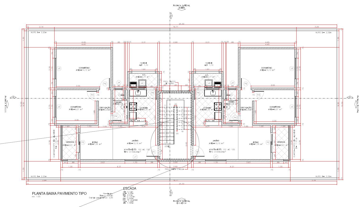 Extremamente Planta baixa do pavimento tipo | Modelo de Projeto - Prédio 3  HX45