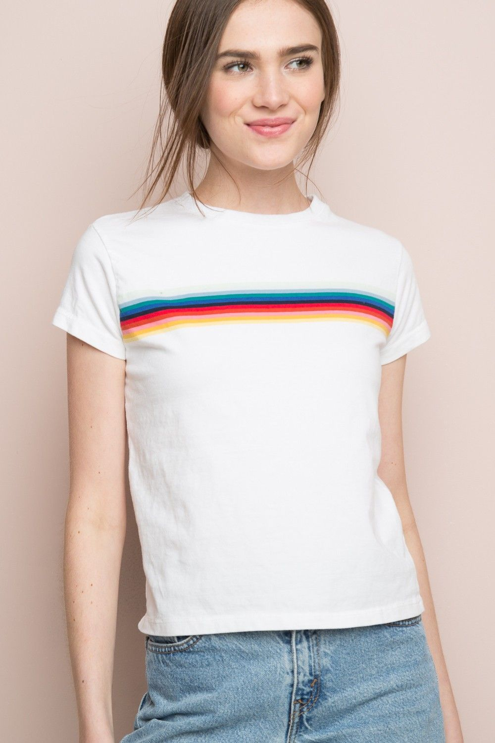 brandy melville ali rainbow tee striped t shirts