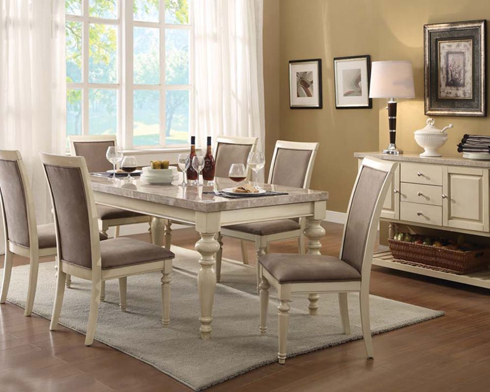 Antique White Dining Set Ryder By Acme Furniture Ac71705set White Dining Room Furniture Marble Top Dining Table White Dining Chairs