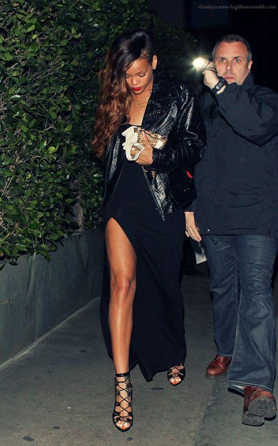 Black Dress With Slit Night Life Glam Rihanna Rihanna