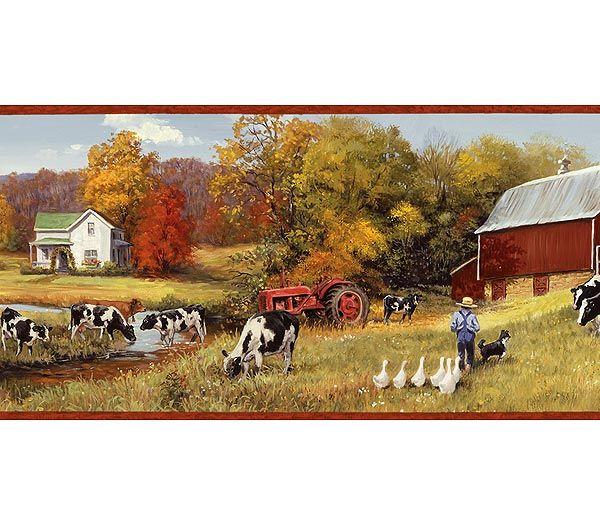 Primitive Cow Decor Bing Images Wallpaper Border Red Barns Cow Pasture